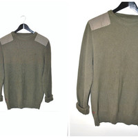 90s grunge MILITARY style sweater vintage ARMY green pull over KNIT mens jumper os medium