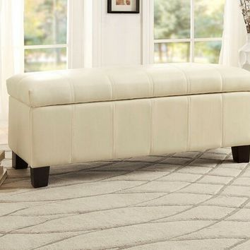 Home Elegance 471TPE Clair collection taupe bycast vinyl upholstered storage ottoman bench with baseball stitching