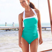 Lauren Ralph Lauren Swimsuit, Ruched Tummy Control Halter One-Piece - Swimwear - Women - Macy's