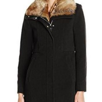 Marc New York by Andrew Marc Women's Black Wool Blend Coat w/ Faux-fur Collar