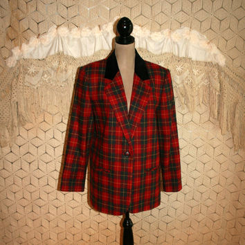Red Plaid Jacket Scottish Tartan Plaid Blazer Velvet Collar Winter Jacket Holiday Christmas Jacket Plus Size 14 Large XL Womens Clothing
