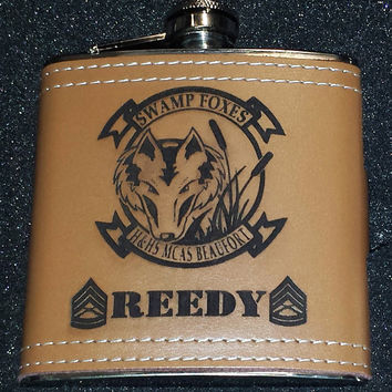 Personalized Leather Wrapped Flask Set with  Funnel and 2 Shot Glasses, Groomsmen, Wedding, Father's Day, Military Gift