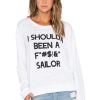 Wildfox Couture Sailors Mouth Sweater in Clean White