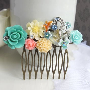 Vintage Inspired Hair Comb Accessory. Ivory Daisy, Green Rose, Peach Dahlia Orange Butterfly Heart Stone. Bridal Wedding Bridesmaids Gift