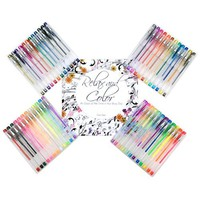 Thornton's Art Supply Premium Assorted Neon, Glitter, Patel, Rainbow Colors Gel Grip Pens Value Set For Adult Coloring Books, Assorted Ink - Set of 24