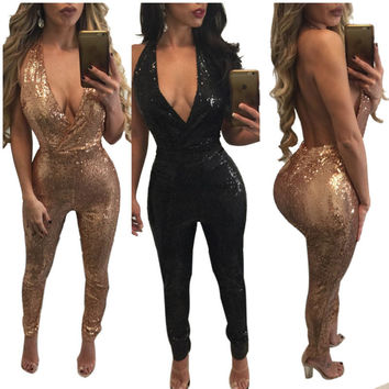 Heyouthoney fashion brand women sexy club elegant deep v-neck sequined backless halter outfit jumpsuit rompers combinaison femme