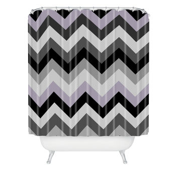 Romi Vega Chevron Black Shower Curtain