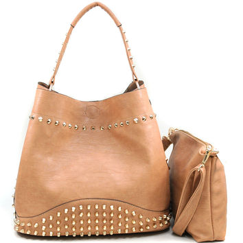 Women's Studded 2-in-1 Fashion Hobo Bag w/ Bonus Strap & Suede Interior - Tan Color: Tan