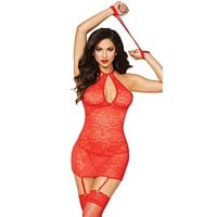 Sexy Selena High Neck Lace Gartered Chemise with Thong and Handcuffs