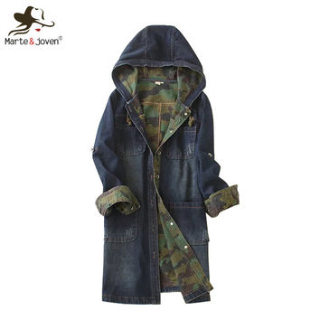 Fashion Casual Women Hooded Denim Coat Long Sleeve Jean Outerwear Spring Autumn Long Denim Coats Ladies Hooded Jean Jackets