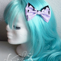 Pastel Goth bow lilac-dots