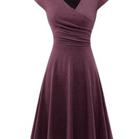 Wine Wrap Midi Dresses Cocktail V-neck Summer Partywear Clothes