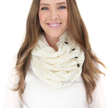WHITE LACE KNIT button infinity scarf, button down infinity scarf, button scarf