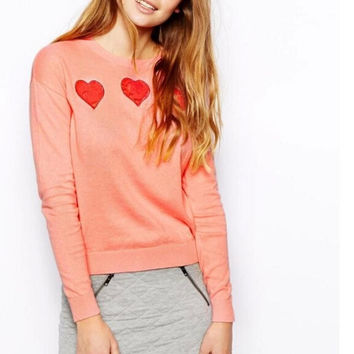 Embroidery Lace Love Heart Sweater