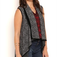 Sleeveless Waterfall Front Cozy with Aztec Print