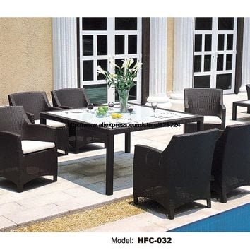 Classic Garden Set Modern Leisure Outdoor desk Table chairs Patio balcony Garden furniture combination rattan chairs 1.6M Table