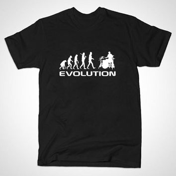 summer Mens T-shirt Bodybuilding Undershirt Fitness Men Drummer Evolution Funny Music humor Drums T Shirt Top Tees