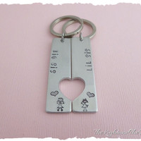 Hand Stamped Key Chains - Big Sis - Little Sis - Gift Idea - Sorority Sisters - Sorority Gift