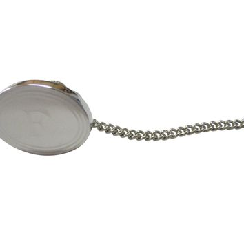 Silver Toned Etched Oval Letter F Monogram Tie Tack