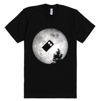 Police Box Flying Past The Moon T Shirt-Unisex Black T-Shirt