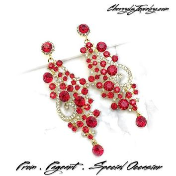 Red Crystal Chandelier Occasion Earrings