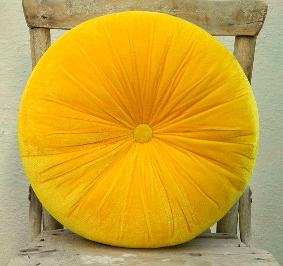 $34.00 Sweet yellow velvet round pillow from originalboutique on