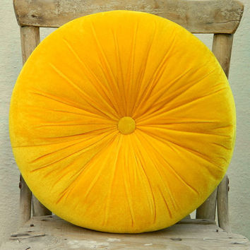 $34.00 Sweet yellow velvet round pillow 16 by originalboutique on Etsy