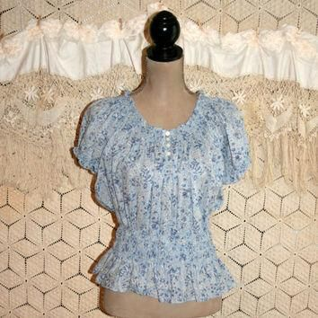 Blue Floral Top Peasant Blouse Hippie Boho Spring Summer Top Floral Blouse Peasant Top