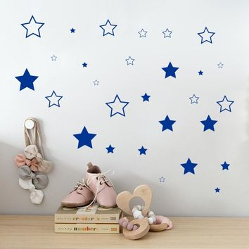 Custom Color Stars Wall Sticker DIY Baby Nursery Bedroom Home Decoration Removable Vinyl Mural Wallpaper For Kids Rooms