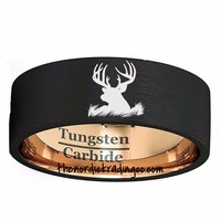 Brushed Black & Gold Tungsten Carbide Etched Deer Head Silhouette Men's Wedding Grooms Band Rings Jewelry Man Father's Day
