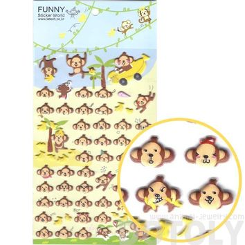 Monkey Face Head Shaped Animal Themed Funny Expressions Puffy Stickers for Scrapbooking