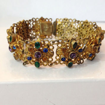 Vintage Czech Glass Bracelet, Art Deco Gilt Filigree Crystal Bracelet, Antique Multi Colored Rhinestone, 1920s Estate Jewelry, Gift for Her
