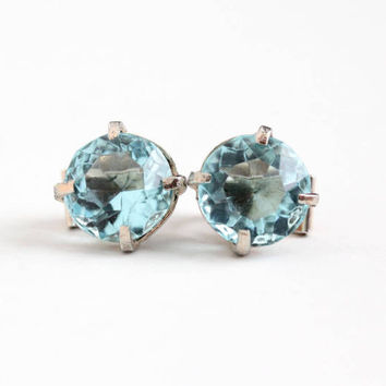 Vintage Sterling Silver Light Aqua Blue Glass Stone Clip On Earrings - Art Deco 1930s Large Round Simulated Aquamarine Statement Jewelry