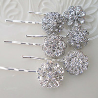 6 Wedding Hair pins, Crystal Hair Pins set, Bridal Hair, Bobby Pins , Wedding accessories, Crystal Rhinestone, Hair accessories