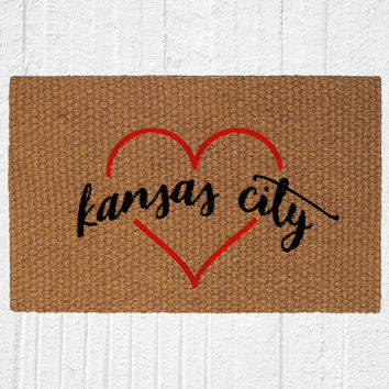 Kansas City Love Welcome Doormat, Outdoor Rug, Entry Rug, Welcome Mat, Front Door Decor, Kansas City Decor
