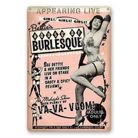 Retro-a-go-go! Bettie's House of Burlesque Bettie Page Metal Sign