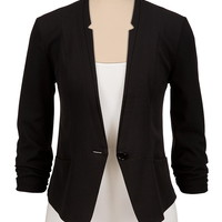 3/4 cinched sleeve cropped blazer