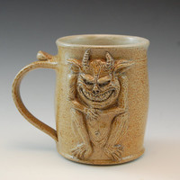 Sitting Gremlin Clay Drinking Mug -Handmade & Salt Kiln Fired