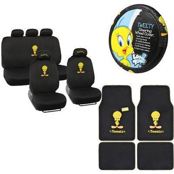 Licensed Official New Tweety Bird  Front Rear Car Floor Mats Seat Covers Steering Wheel Cover Set