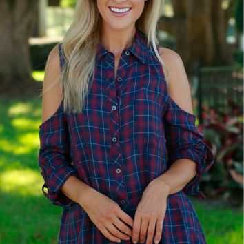 Plaid Cold Shoulder Top Burgundy