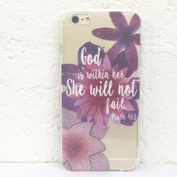 H34 God Is Within Her She Will Not Fail - TPU Clear Phone Case for iPhone 5 iPhone 5s iPhone 5c iPhone 6 iPhone 6plus Galaxy S4 Galaxy S5