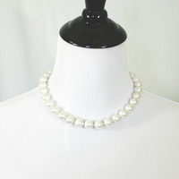Short faux white pearl necklace