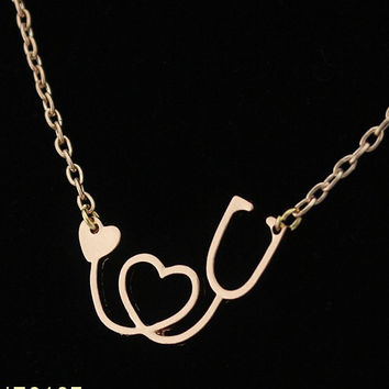 18K Gold/Rose Gold/Silver Plated Medical Stethoscope Heart Chain Necklace 18 inch