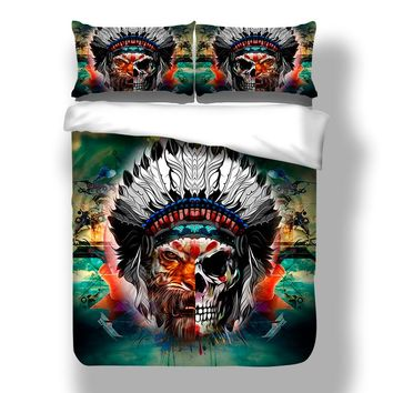 Unique Design Cool Skull Tiger Face Bedding Set Muilt Color Duvet Cover Set Twin Full Queen King Size 3PCS