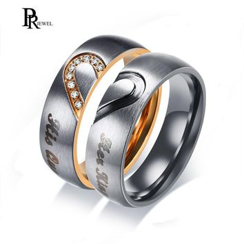 Cool His Queen Her King Wedding Bands Ring Real Love Heart Promise Gift Rings 6MM Stainless Steel Couple  AllianceAT_93_12