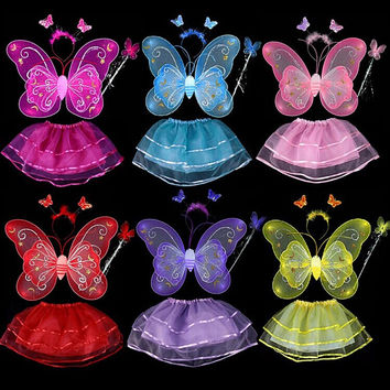 Butterfly Wing Wand Headband Tutu Skirt Cosplay Costume For Fairy Girl Kid Baby Clothes Brands