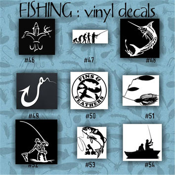 FISHING vinyl decals - 46-54 - car decal - vinyl sticker - laptop decal - stickers - fish - fishing boat - fisherman - custom vinyl decal