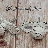 Knobs // Decorative knobs // drawer pulls // dresser knob // cabinet knob // shabby white knobs // white knobs // distressed knobs