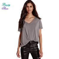 New Fashion 2017 Summer Sexy Casual Style V Neck Solid BF Punk Gray Women T Shirt Short Sleeve Loose Active Tee Tops Female