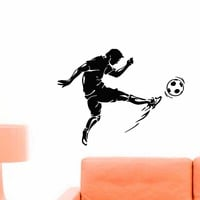 Soccer Player Wall Decal Vinyl Sticker Football Game Sport Wall Decor Home Interior Design Art Mural Boy Room Kids Nursery Bedroom Dorm Z747